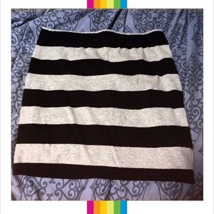 Forever 21 Small Black & Gray Stripe Bodycon Skirt